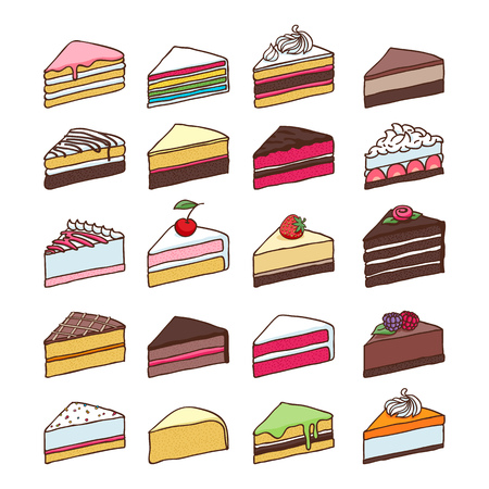 Colorful sweet cakes slices pieces set hand drawn vector illustration.