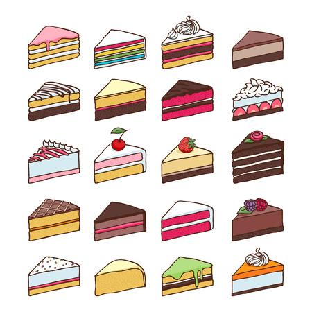 Kolorowe słodkie ciasta plastry kawałki ustawić Ręcznie rysowane ilustracji wektorowych.