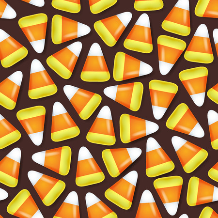 Candy corn sweets seamless pattern vector illustration. Halloween symbol background.