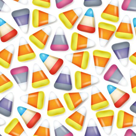 yellow corn: Colorful candy corn sweets seamless pattern vector illustration. Halloween symbol background.