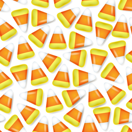 corn: Candy corn sweets seamless pattern vector illustration. Halloween symbol background.