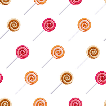 swirl patterns: Assorted colorful lollipop spiral candies seamless background.