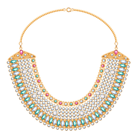 diamond necklace: Chains and gemstones golden metallic necklace in ethnic indian egyptian style. Personal fashion accessory design.