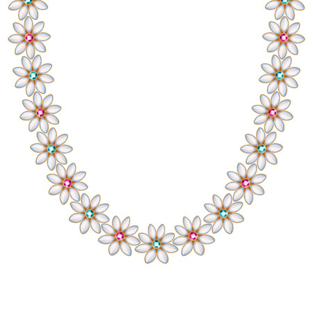 golden daisy: Flower daisy gemstones and pearls chain necklace or bracelet. Personal fashion accessory design ethnic indian style. Illustration