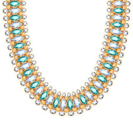 emerald gemstone: Gemstones diamonds and emeralds chain golden necklace or bracelet. Personal fashion accessory design ethnic indian style. Illustration
