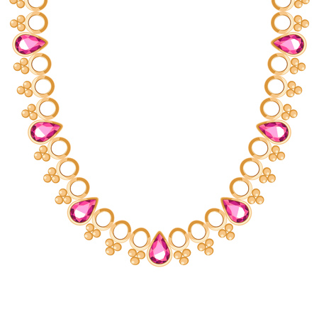 chunky: Chunky golden chain with rubies gemstones necklace or bracelet. Personal fashion accessory design ethnic indian style.