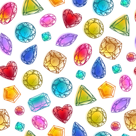 gemstone: Seamless colorful hand drawn diamond gemstones background on white. Jewels pattern. Illustration