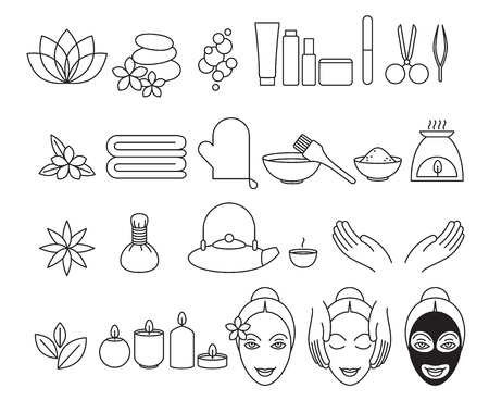 relaxation massage: Spa beauty salon wellness center icons set. Vector illustration.