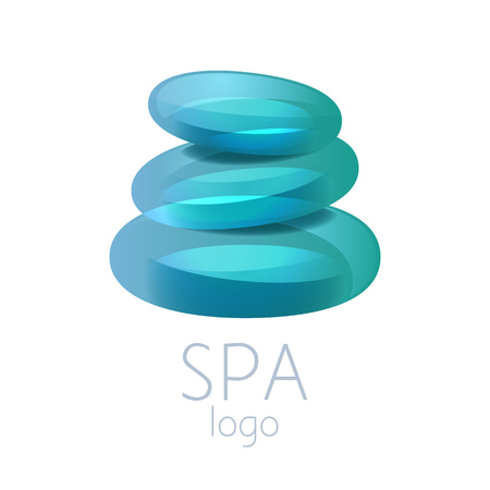 spa salon: Beautiful turquoise spa stones stack sign. Good for spa, yoga center,wellness, beauty salon and medicine designs. Illustration