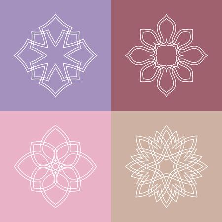 salon de belleza: Flourish etiqueta plantilla de adorno. Bueno para un hotel restaurante boutique heráldico joyería de moda del salón de belleza del balneario de yoga emblema. Ilustración del vector.