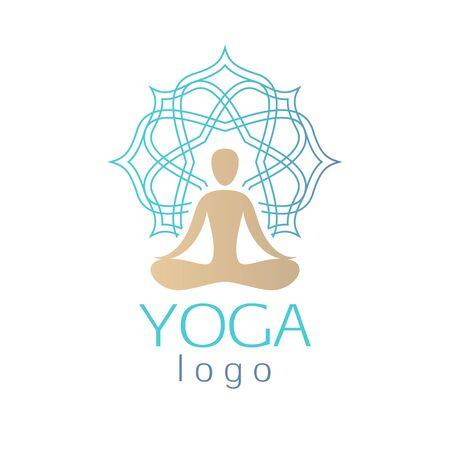 aura: Beautiful abstract human figure with ornamental aura sign.  Good for spa, yoga center, beauty salon, wellness and medicine designs. Illustration