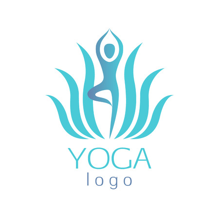 Beautiful turquoise lotus flower with human figure asana template sign. Good for spa, yoga center and medicine designs.