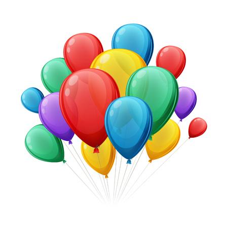 Balloon: Bó đầy màu sắc illustation bóng bay vector. Tốt cho các thiết kế lễ kỷ niệm bữa tiệc sinh nhật. Hình minh hoạ