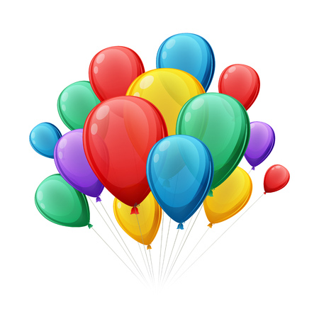 globo: El manojo de globos de colores illustation del vector. Bueno para la fiesta de cumplea�os dise�os de la celebraci�n del aniversario.