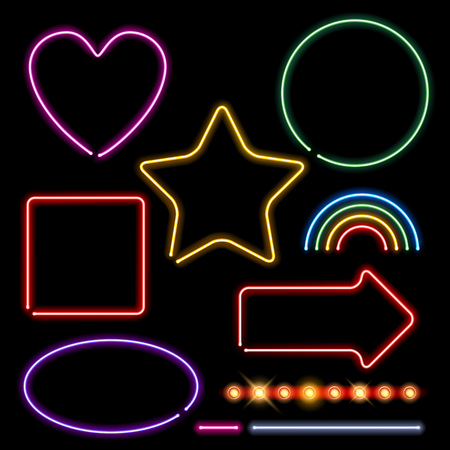 rainbow: Neon signs set vector illustration - assorted forms and light bulbs border. Heart circle square star rainbow arrow designs.