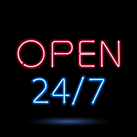 open sign: Neon sign open vector illustration. Good for day-and-night convenience services design.