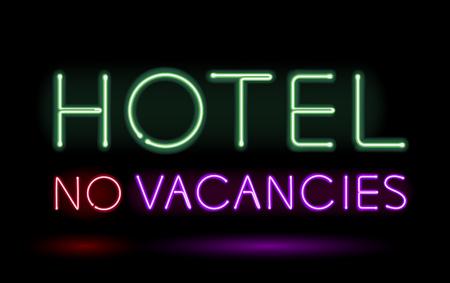No: Neon sign hotel no vacancies vector illustration.