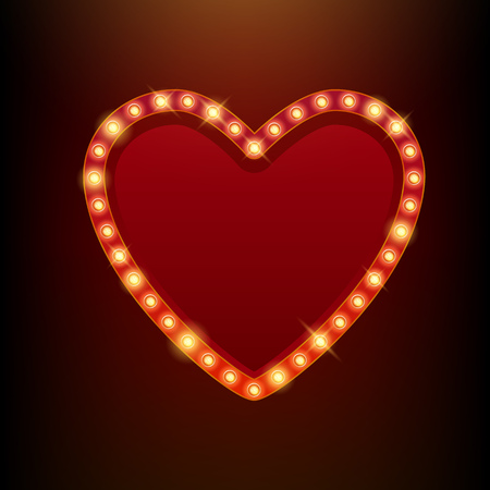 theatre: Light bulbs vintage neon glow heart frame vector illustration. Good for cinema show theatre circus casino design.