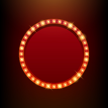 circo: Bombillas vendimia resplandor de neón marco redondo ilustración vectorial. Bueno para el diseño de casino circo cine espectáculo de teatro. Vectores