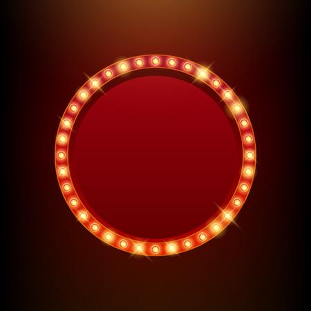Gloeilampen vintage neon gloed ronde frame vector illustratie. Goed voor de bioscoop theater toon circus casino design.