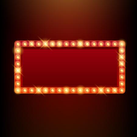 電球ヴィンテージ ネオン輝き正方形フレーム ベクトル イラスト。映画館のための良いは、劇場サーカスのカジノ デザインを表示します。  イラスト・ベクター素材