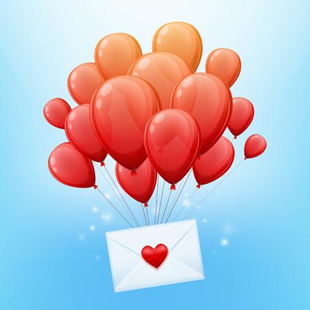 despedida: Manojo o globos rojos con la carta de amor ilustraci�n vectorial sobre. Bueno para el dise�o del d�a de san cumplea�os invitaci�n del partido.