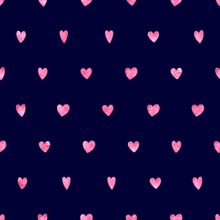 glitter hearts: Seamless polka dot pink hearts pattern. Hearts of small mosaic faceted triangles. Illustration