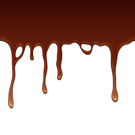 drips: Melted flowing chocolate drips - seamless horizontal border vector illustration.