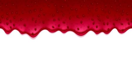 クランベリーいちごまたはラズベリー スグリの現実的なしずくは、白い背景の上ジャムします。液体流れます。  イラスト・ベクター素材