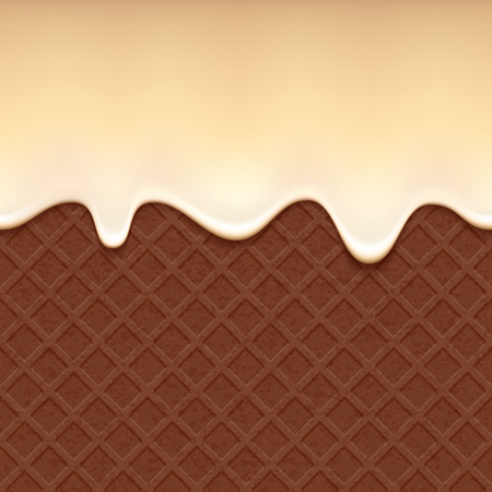vanilla cake: Chocolate wafer and flowing vanilla cream - vector background. Sweet waffle texture. Soft icing.