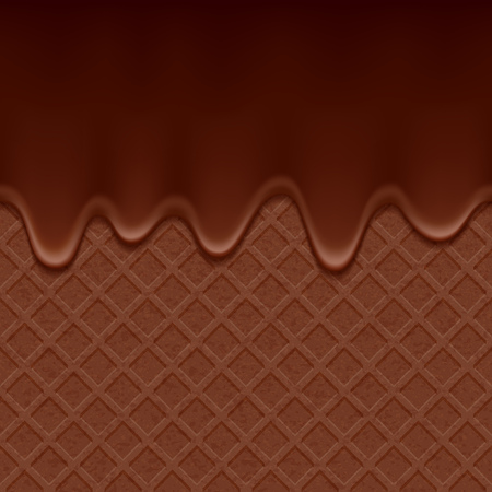 dripping chocolate: Chocolate wafer and flowing chocolate - vector background. Sweet waffle texture. Soft icing.