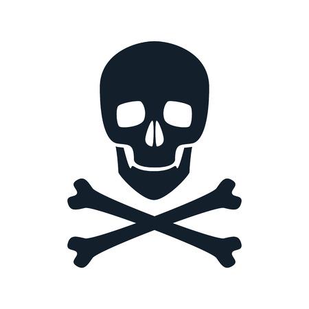poison symbol: Skull icon vector illustration. Danger scary poison symbol.