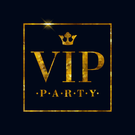 VIP party abstract mosaic faceted background, golden letters with royal crown. Good for party invitation poster card flyer design.