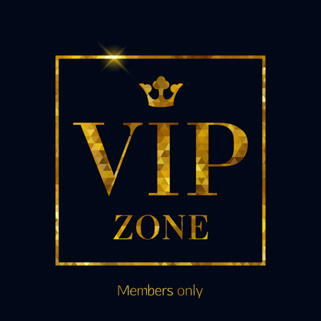 VIP zone abstract mosaic faceted background, golden letters with royal crown. Good for party invitation poster card flyer design.