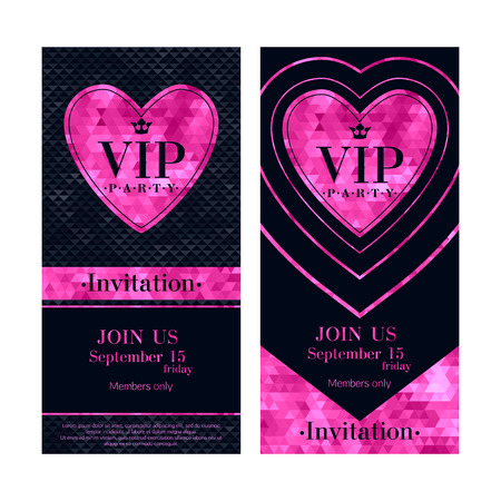 VIP party premium invitation cards posters flyers. Black and pink design template set. Mosaic faceted heart decorative background. Good for Valentines day design. Illusztráció