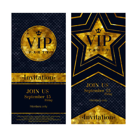 VIP party premium invitation cards posters flyers. Black and golden design template set. Circle and star shaped mosaic faceted backgrounds. Stock Illustratie
