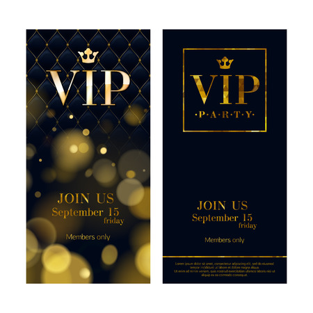 club flyer: VIP party premium invitation cards posters flyers. Black and golden design template set. Glow bokeh and wuilted pattern decorative background. Mosaic faceted letters.