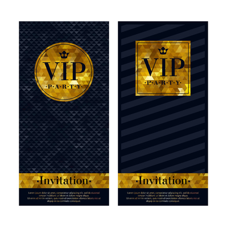 premium: VIP party premium invitation cards. Black and golden design template set. Triangle faceted and diagonal lines decorative patterns. Illustration