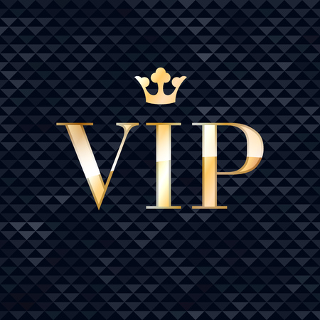 VIP abstract triangle faceted background, golden letters with royal crown. Good for party invitation poster card flyer design. Illustration