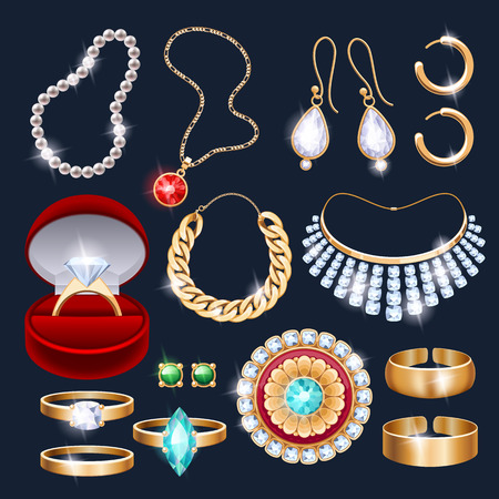 gems: REalistic jewelry accessories icons set. Necklace bracelet gold chain diamond pearl earrings pendant rings vector illustration.