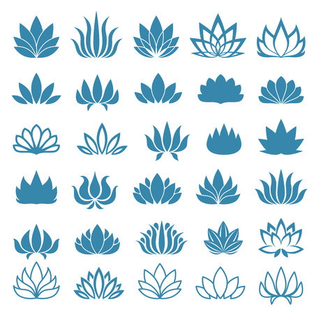 silhouette fleur: Fleur de Lotus logo assortis icons set. Vector illustration.