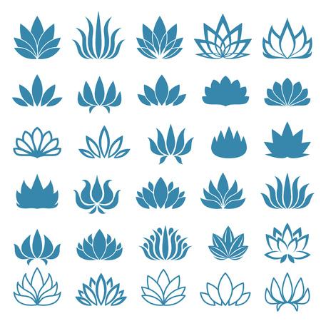 flor de loto: Lotus logo flor iconos variados fijados. Ilustración del vector.