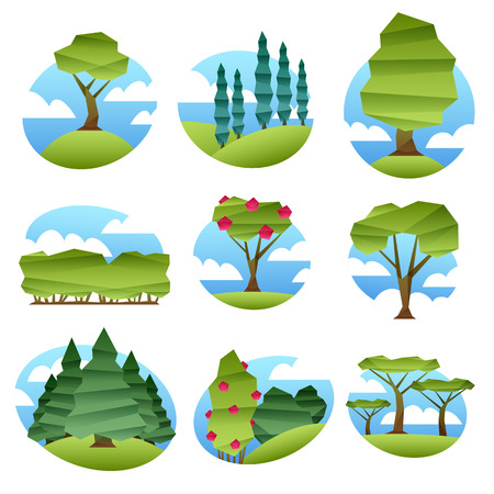 garden scenery: Colorful abstract low poly style landscapes with trees set.. Folded paper style vector illustration. Forest garden scenery Illustration