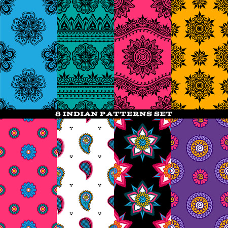 bollywood: Colorful indian eastern asian seamless patterns set. Ethnic styles textile backgrounds.