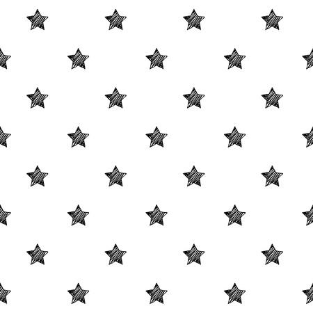 Stars scribble sketch seamless pattern background. Hand drawn vector illustration. Stock Illustratie
