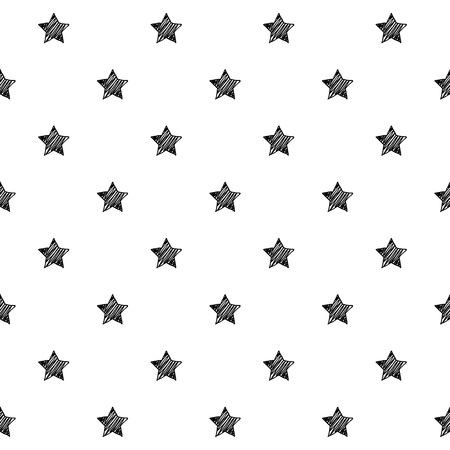Stars scribble sketch seamless pattern background. Hand drawn vector illustration. Çizim