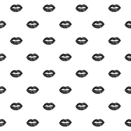 唇フリーハンド スケッチのシームレスなパターン背景。手には、ベクター グラフィックが描画されます。