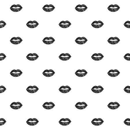 Lips scribble sketch seamless pattern background. Hand drawn vector illustration.