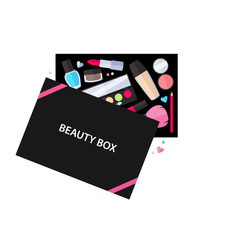 Beauty box cosmetics service vector illustration. Make up beauty accessories design.