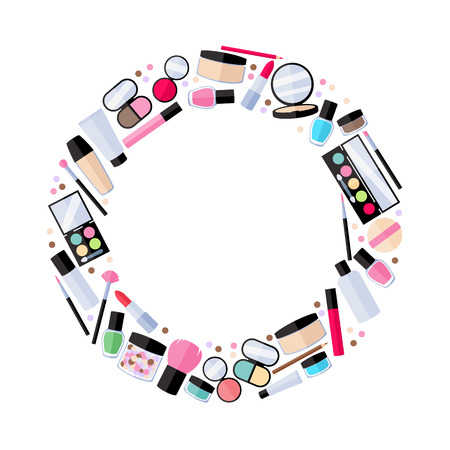 Cosmetics make-up beauty accessories vector illustration. Lipstick eyeshadow lip gloss powder brush pencil design flat style. Round frame.